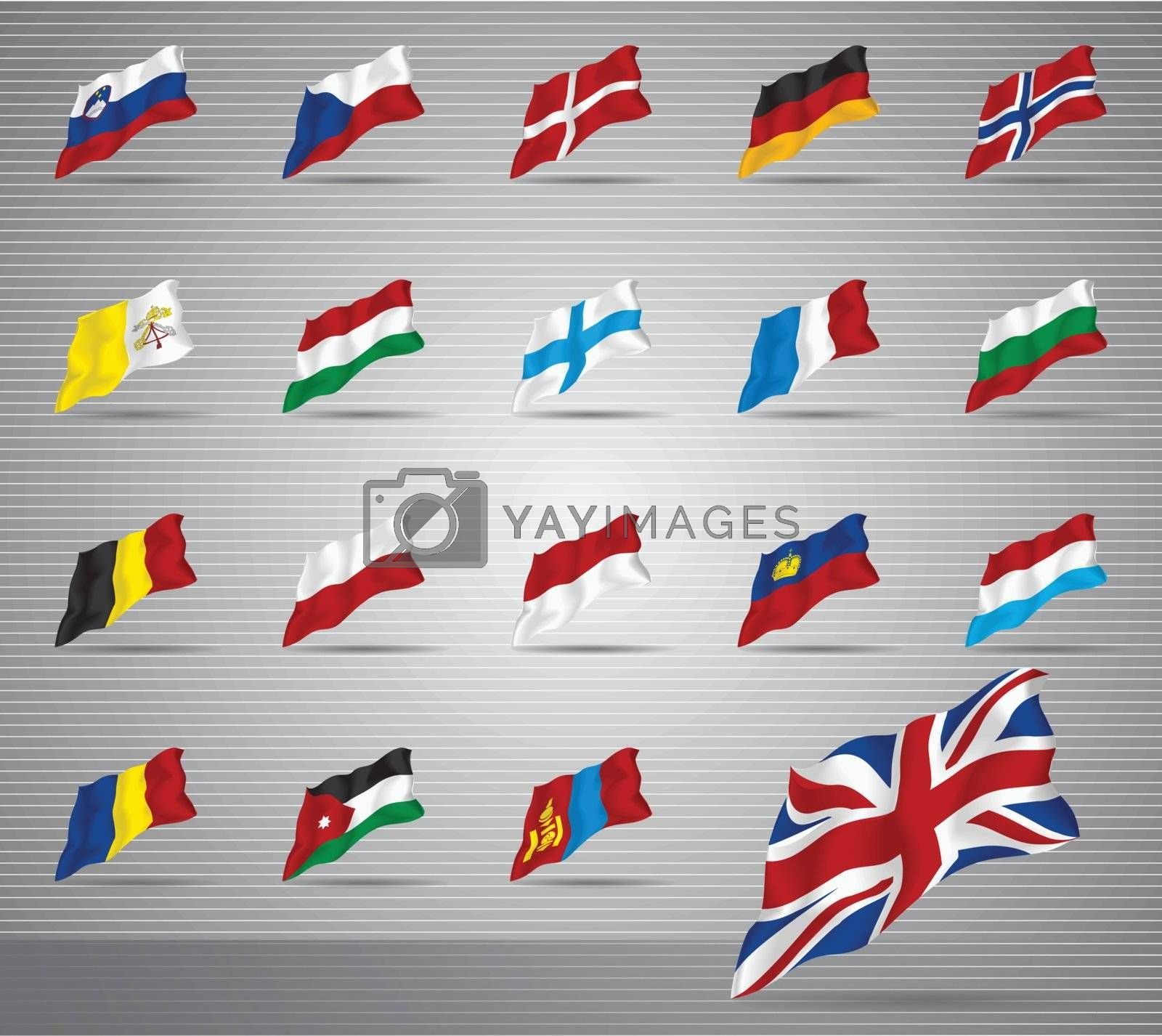 Vector of waved national flags