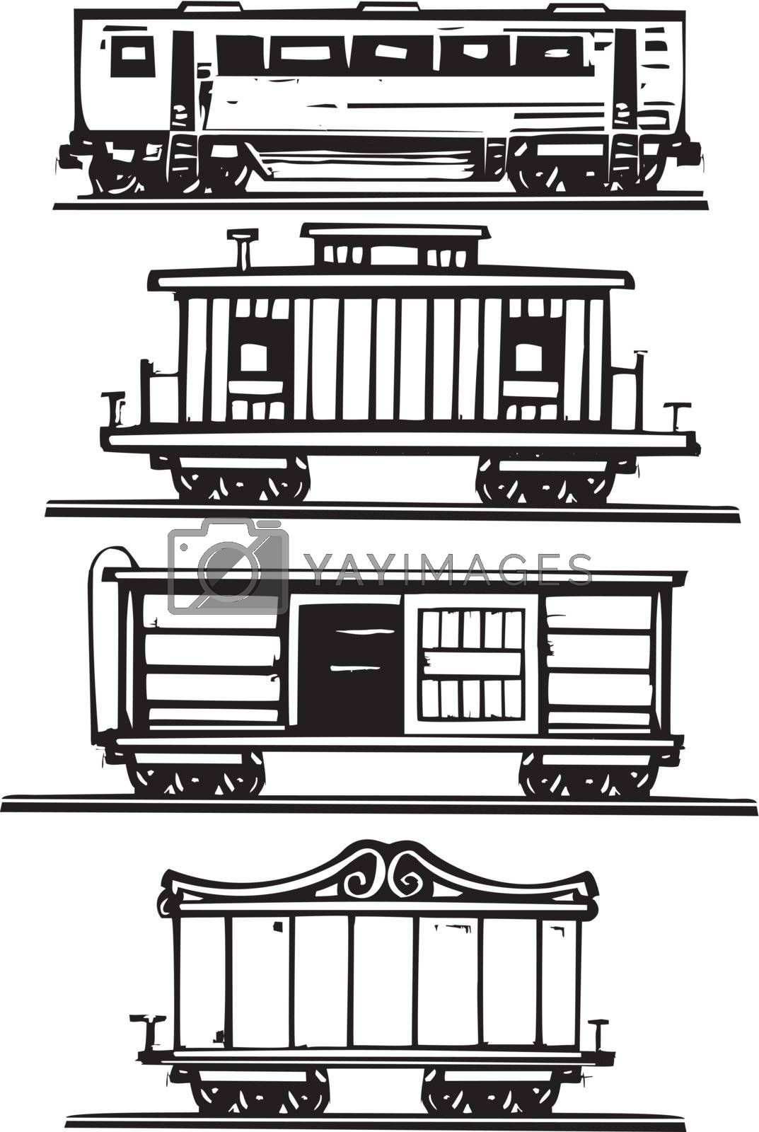 Woodcut style images of railroad passenger, circus, boxcars and caboose.