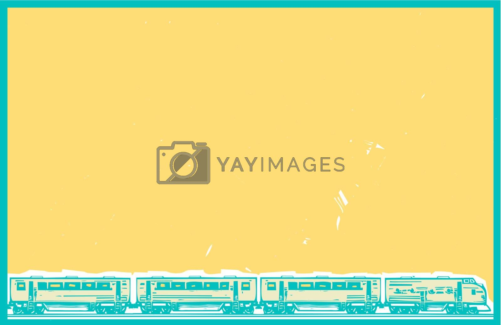 Woodcut style image poster image of a diesel locomotive train with a passenger cars.