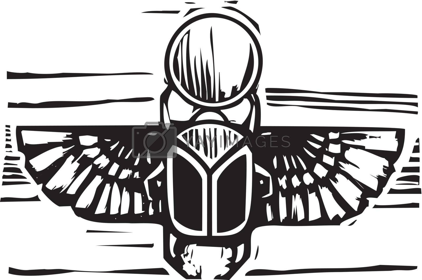 Woodcut style an Egyptian winged scarab beetle holding the sun.