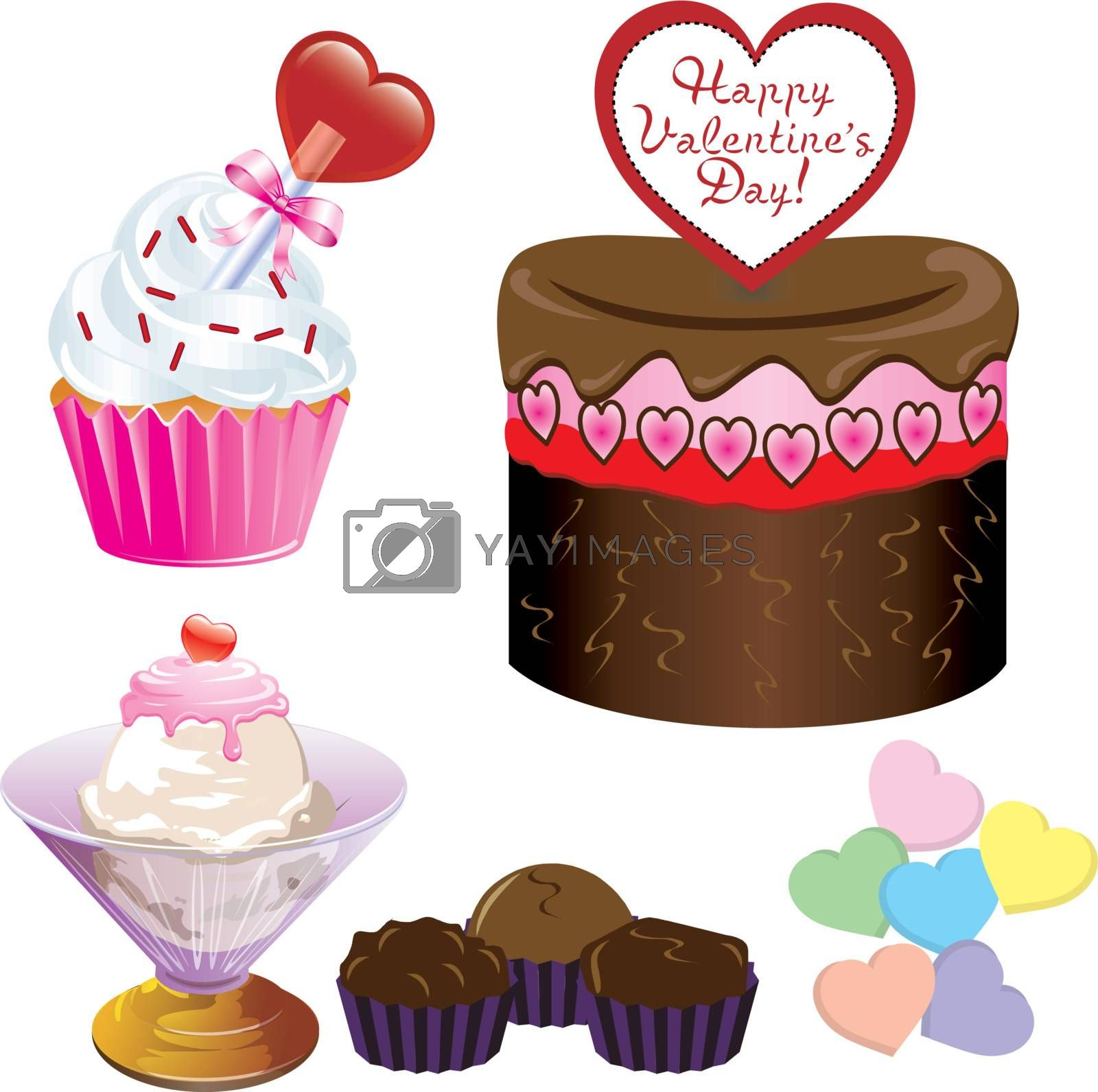 Vector Illustration of five different Valentine Sweets.