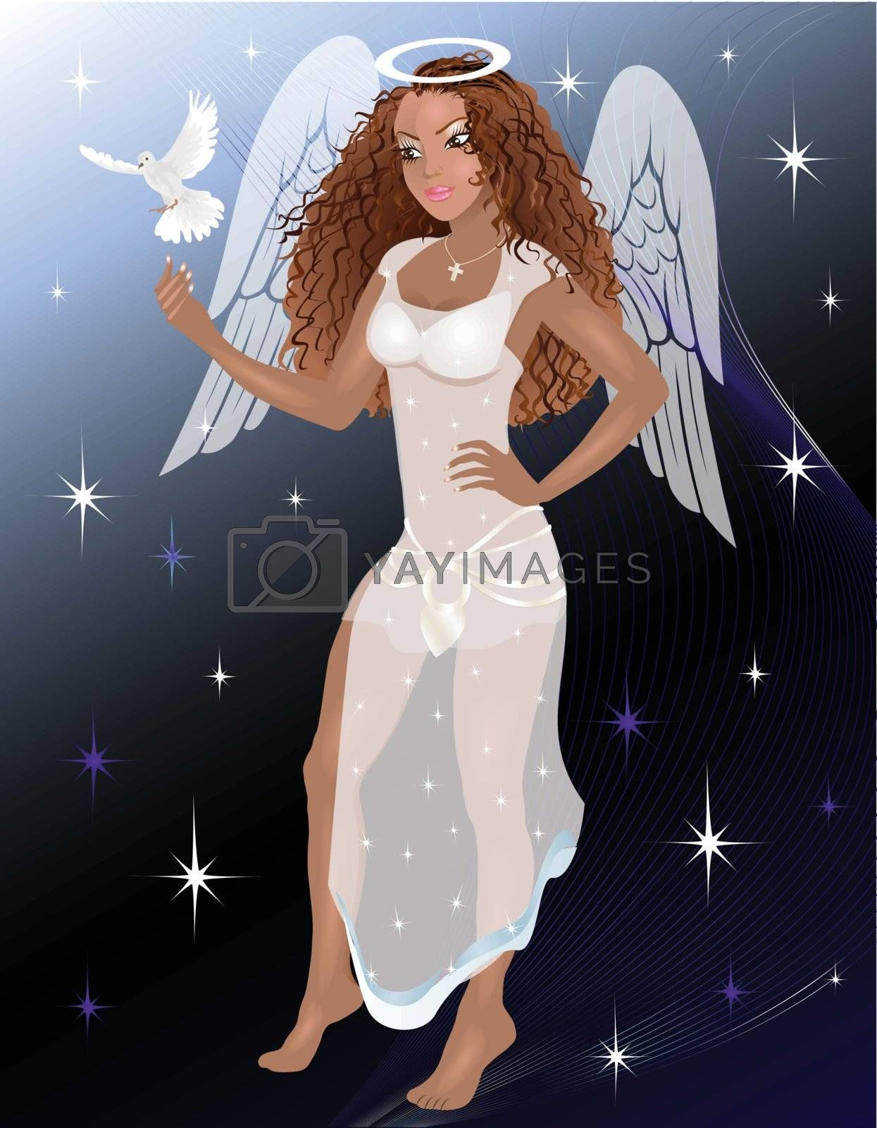 Vector Illustration of an Angel with a dove.