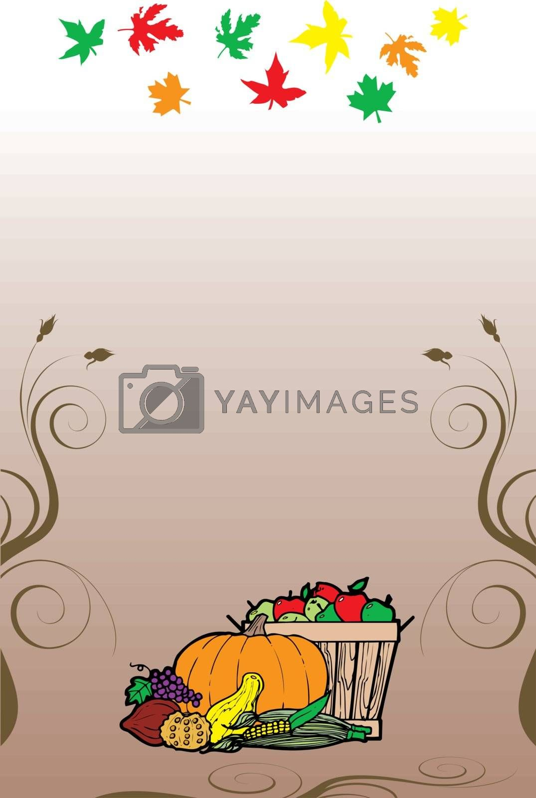 Vector Illustration for Thanksgiving Fruit Vegetable Card and Fall Autumn Leaves.