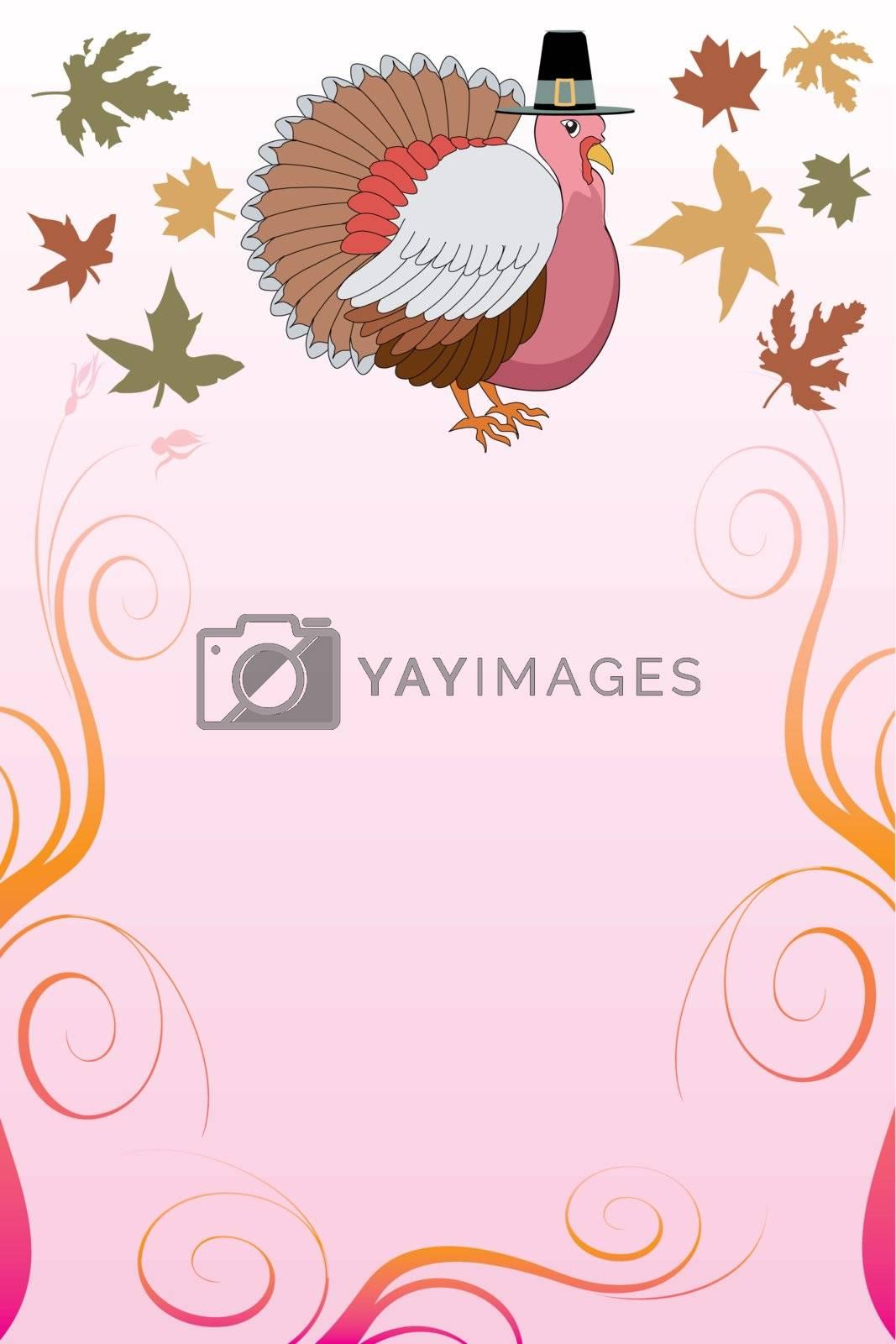 Vector Illustration of a Thanksgiving Background with Thanksgiving Turkey and pink background.