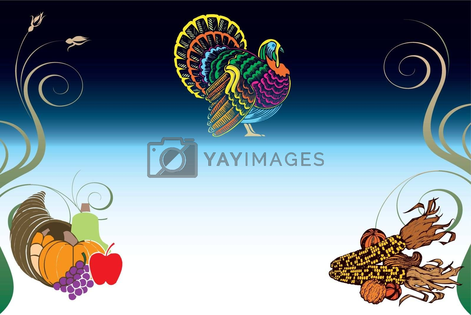Vector Illustration of a Thanksgiving Background with Turkey, Pumpkin and Corn.