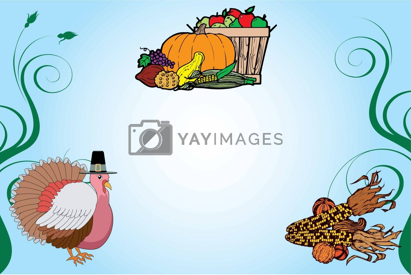 Vector Illustration of a Thanksgiving Turkey Background with fruit basket and corn.