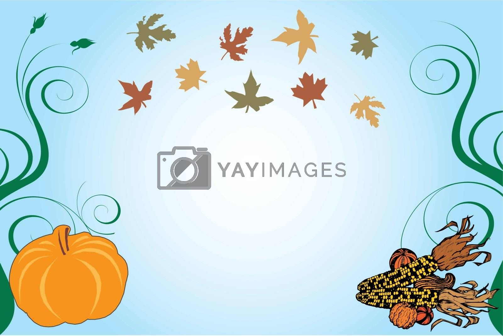 Vector Illustration of a Thanksgiving Background with pumpkin and corn.