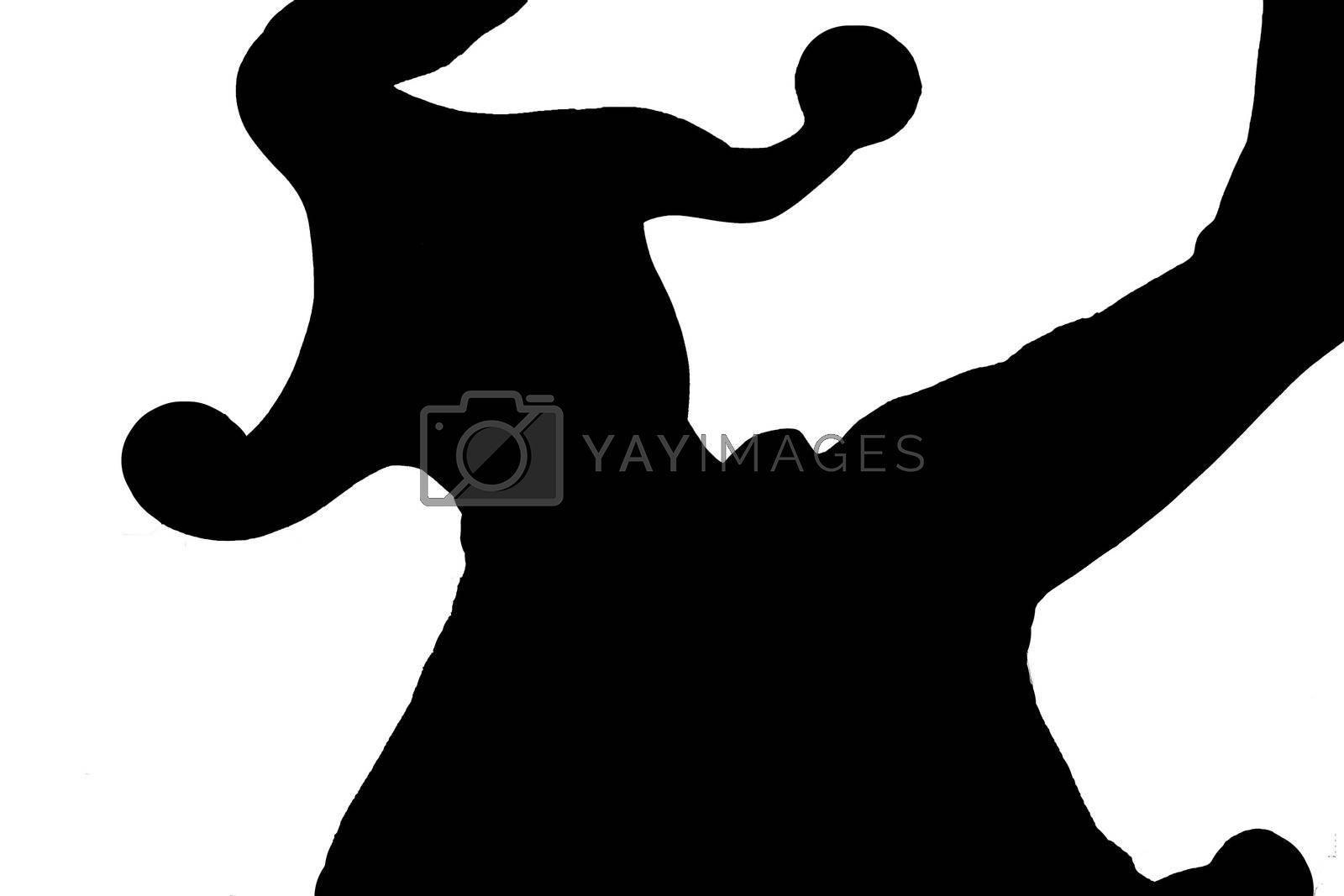Silhouette of dancing jester on white background