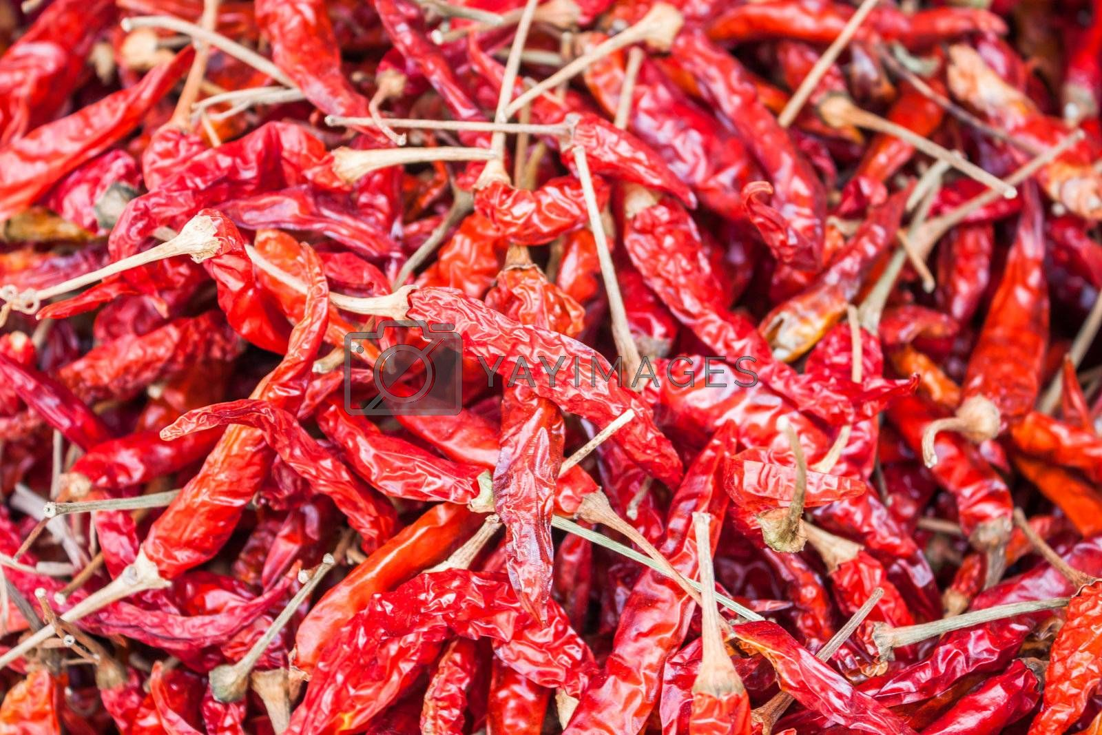 Dried red pepper on display at local market
