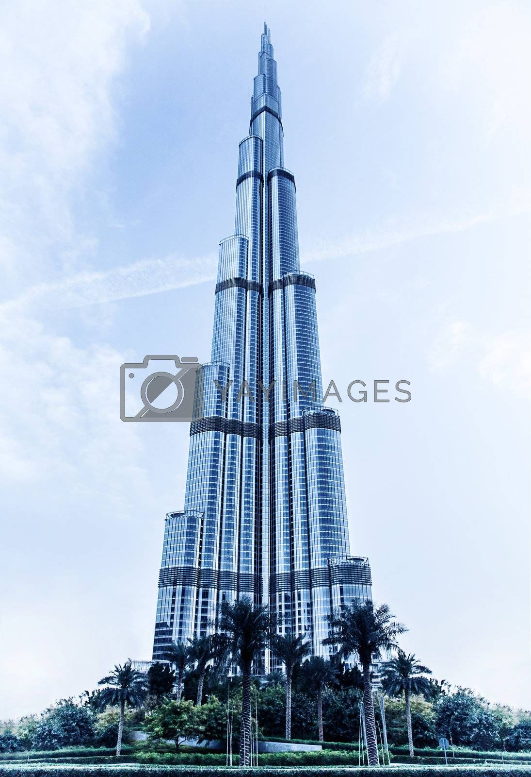 DUBAI, UAE - FEBRUARY 16: Burj Khalifa - world's tallest tower in the world at 828m, located in Downtown Dubai, Burj Dubai on February 16, 2012 in Dubai, United Arab Emirates