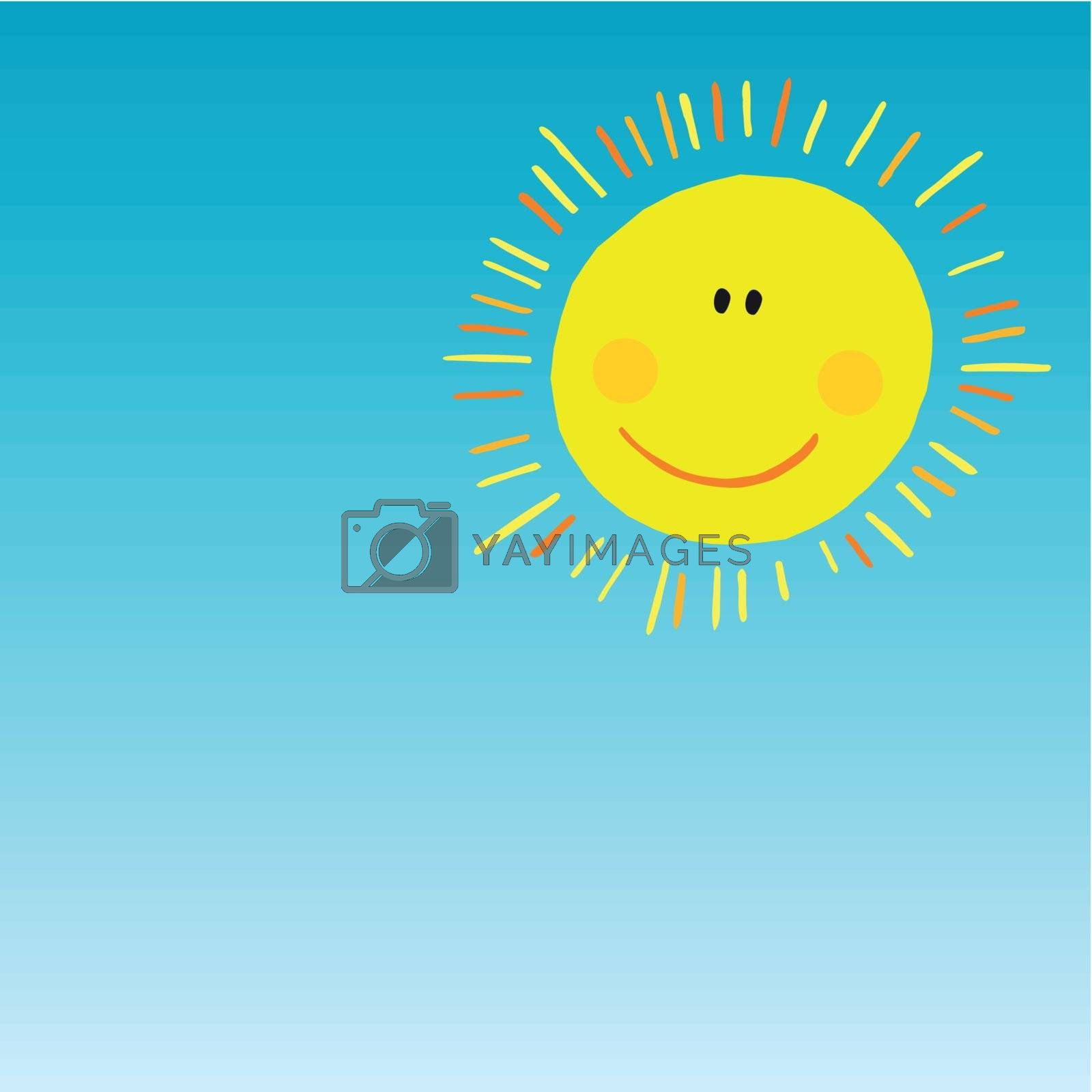 vector abstract smiling sun on blue sky