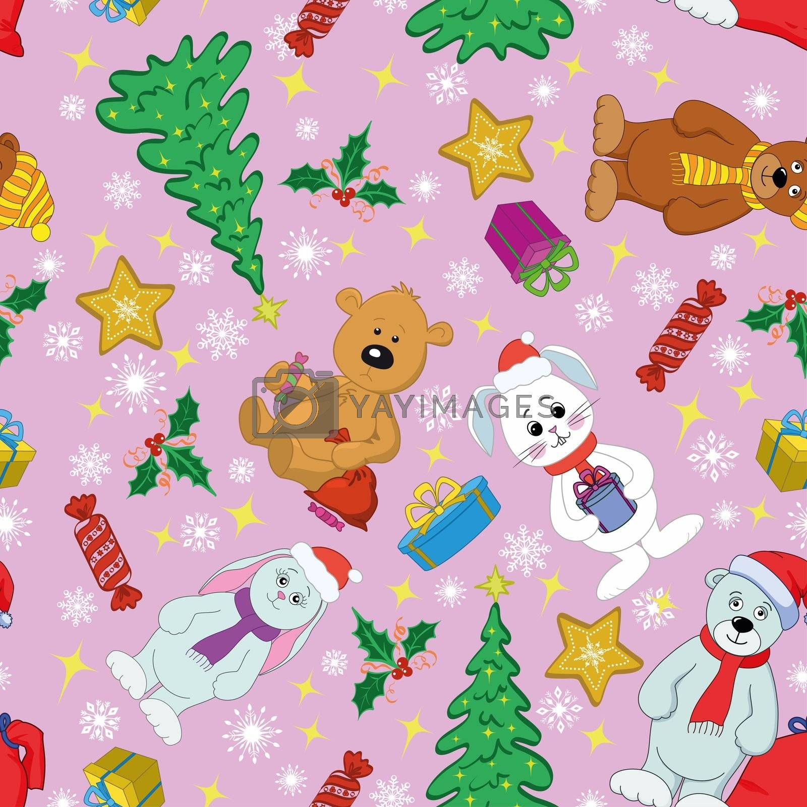Christmas cartoon seamless background for holiday design with toys characters