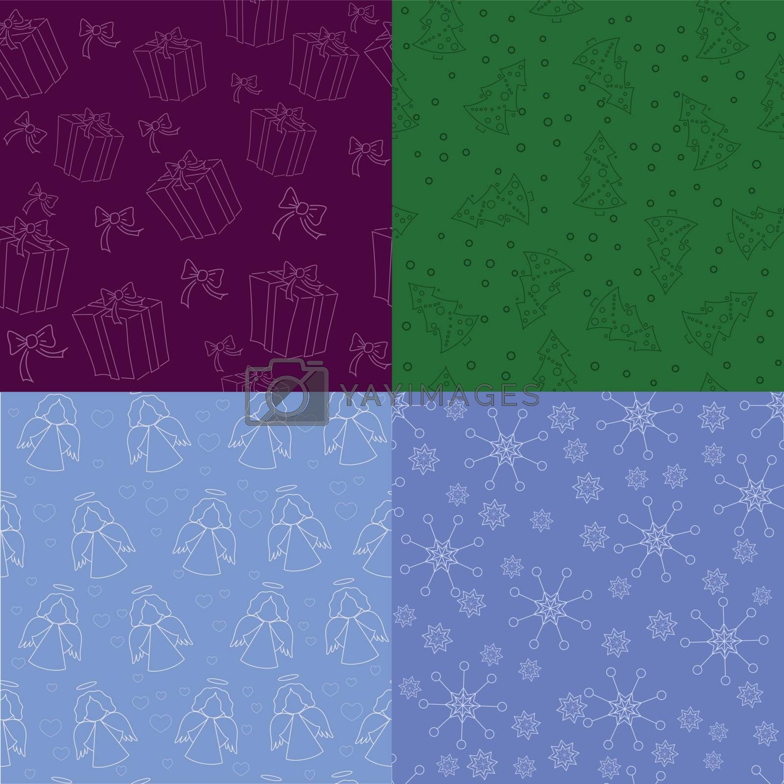 set of vector simple christmas backgrounds