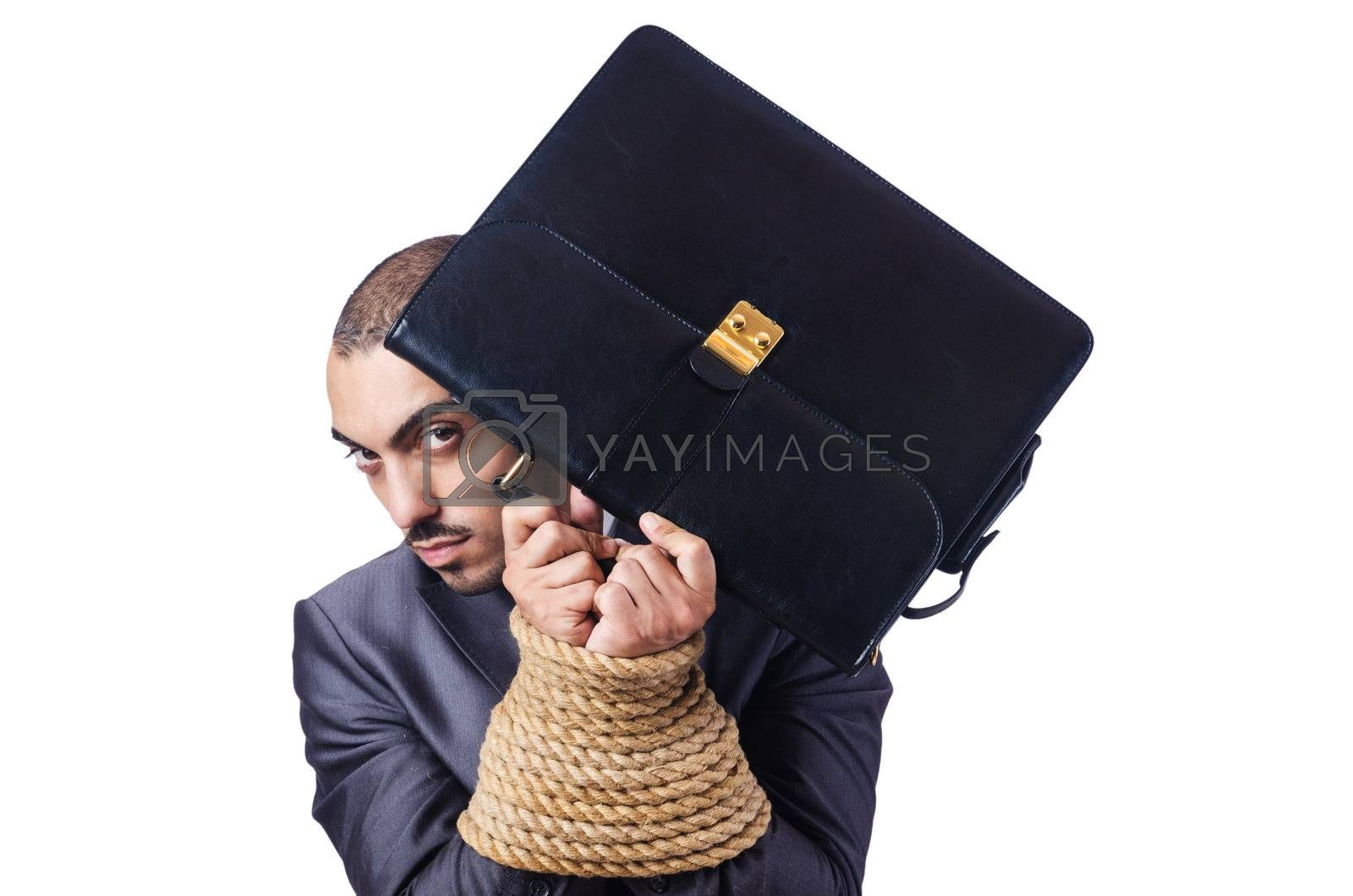 Businessman tied up with rope by Elnur