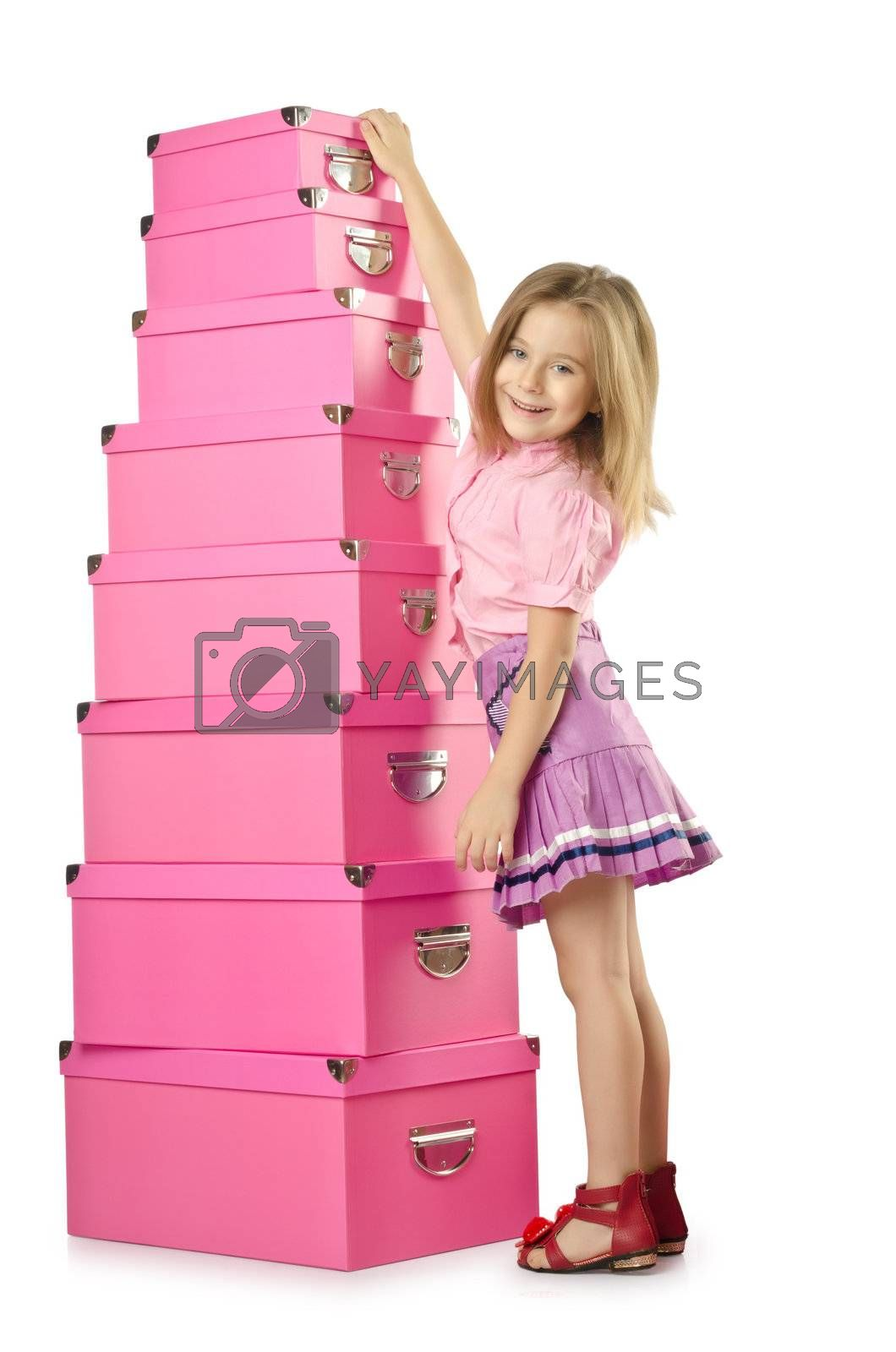 Little cute girl with lots of boxes by Elnur