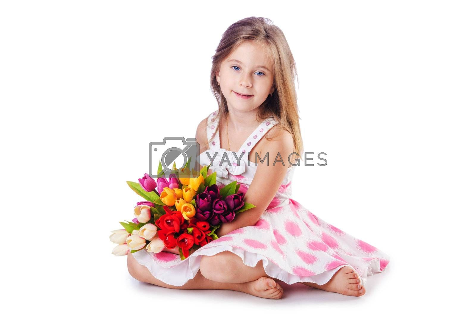 Cute little girl with flowers on white by Elnur