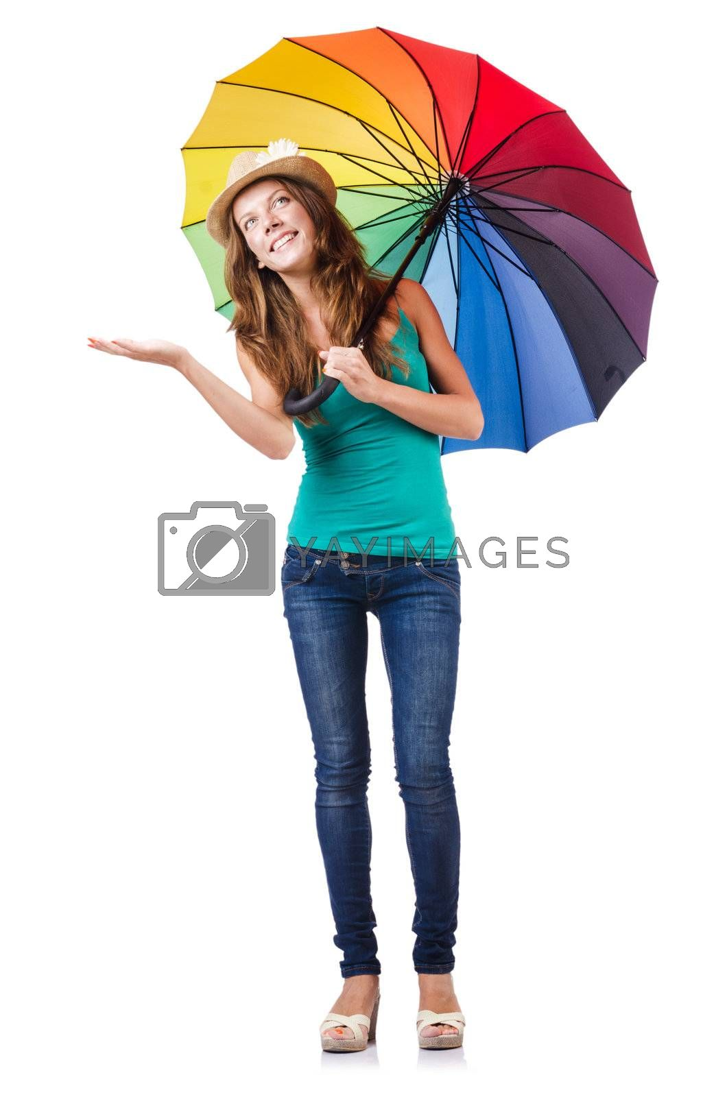 Young woman with colourful umbrella by Elnur