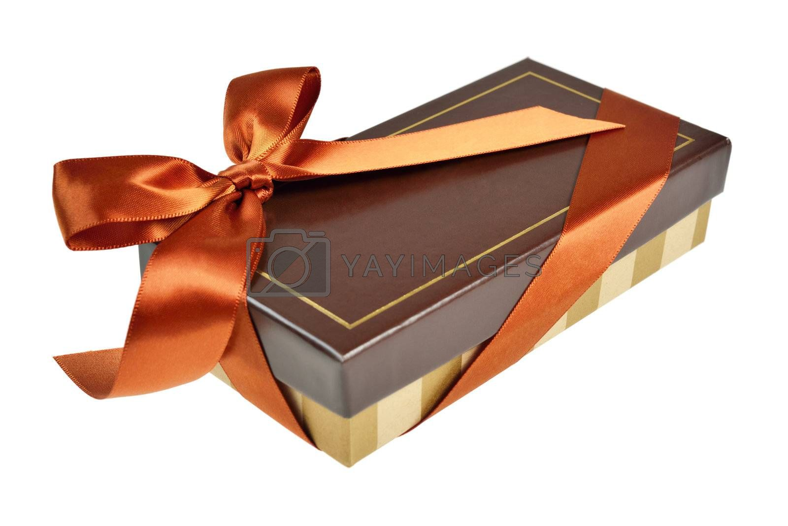 Gift box with ribbon and bow. Isolated on white.