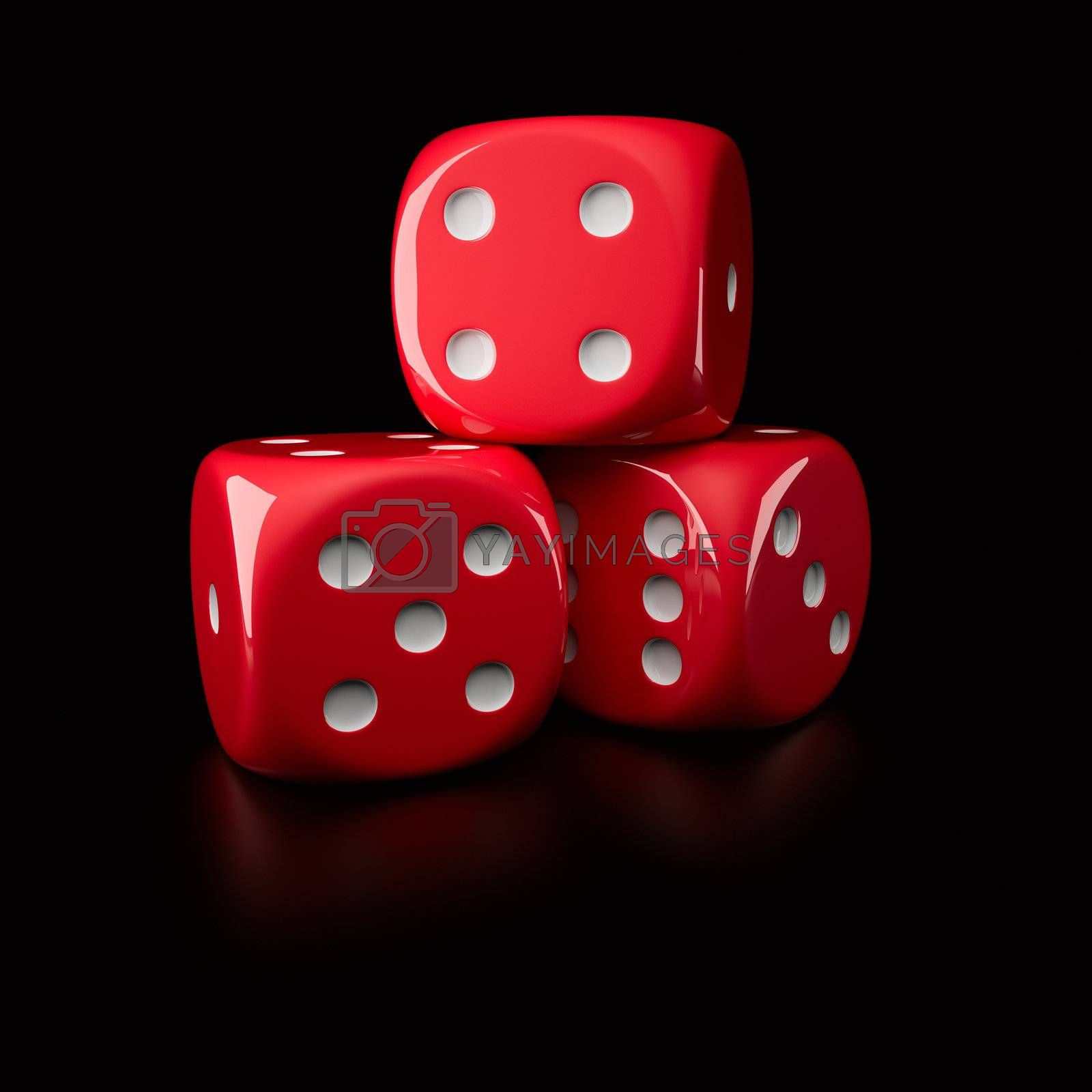 Three red dice showing different sides (on a right-handed, 6-sided die with pips)