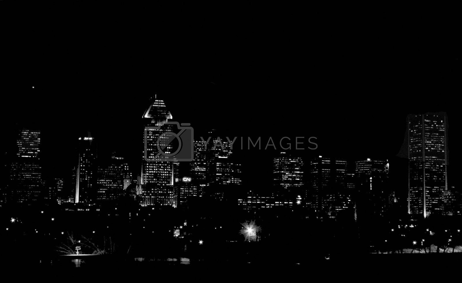 End of night silhouette view of Montreal cityscape