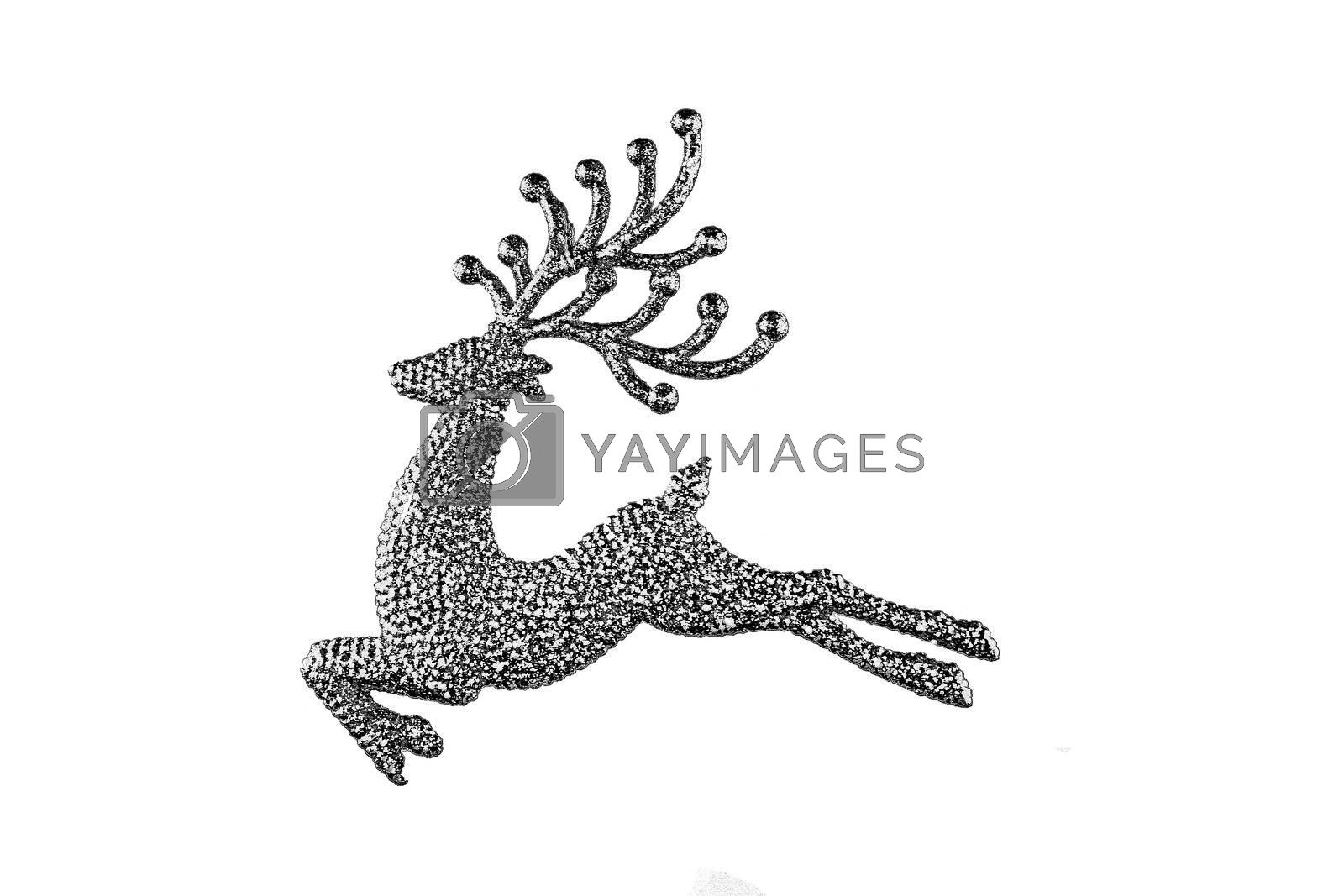 Sparkling reindeer decoration set in silhouette view