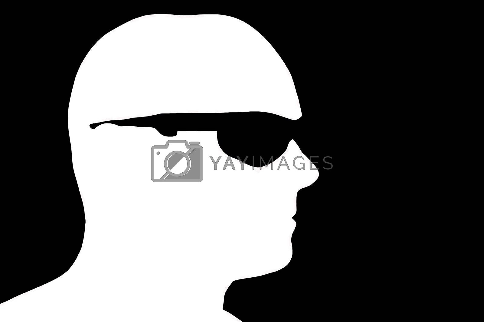 Profile view in silhouette of a man wearing sunglasses