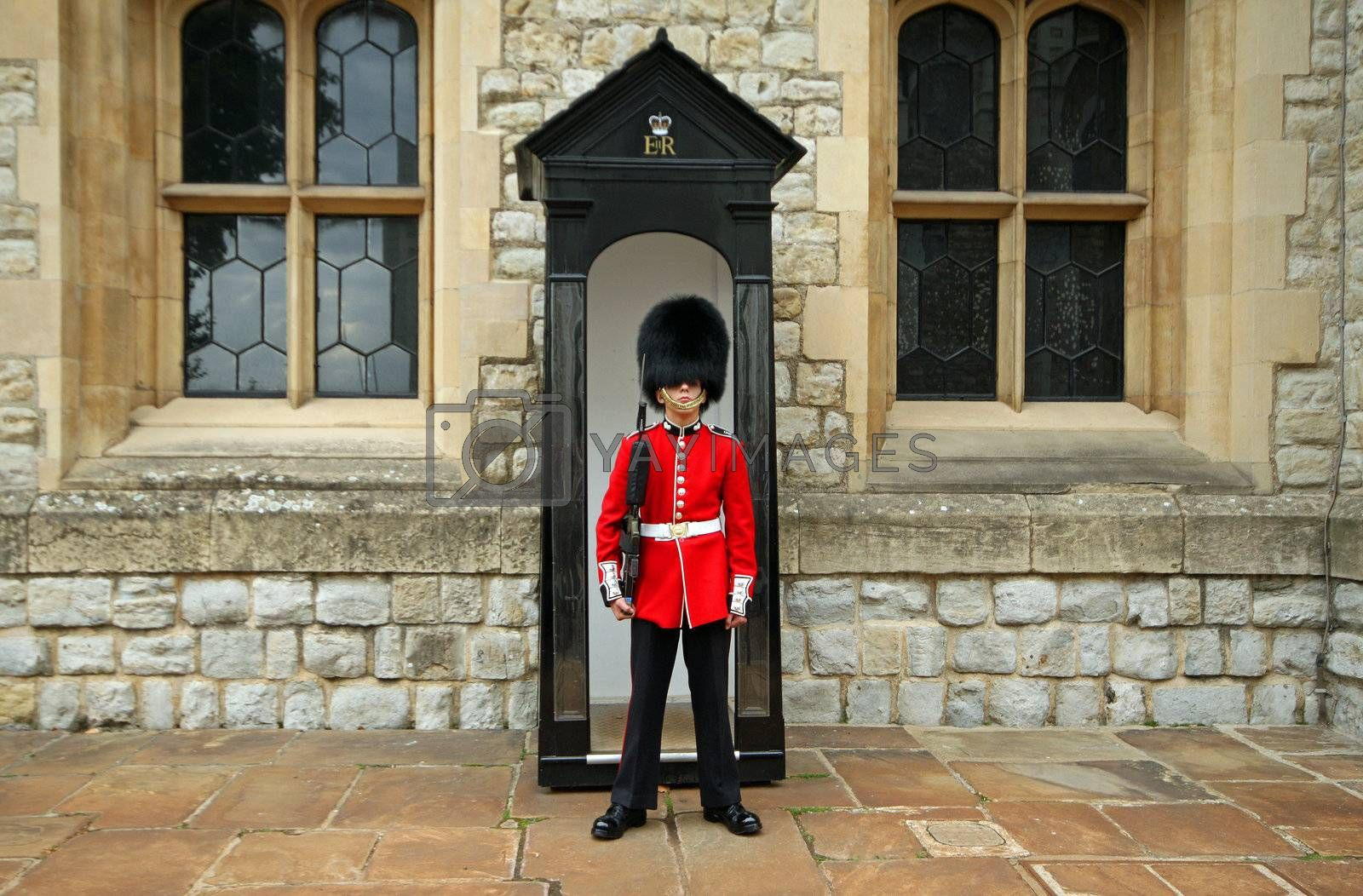 Grenadier guards at attention in full guard duty