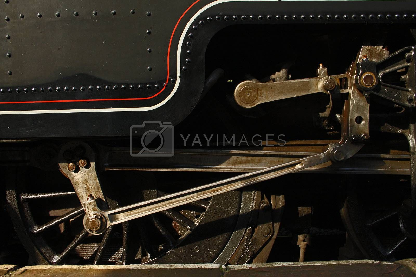View of drive shaft and brake pad of a steam engine locomotive