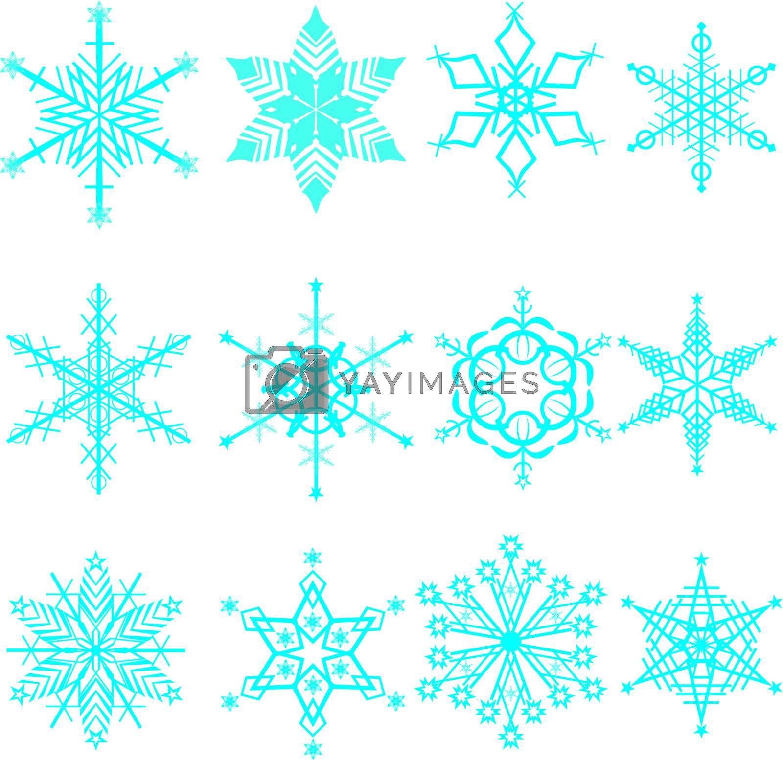 Snowflakes icon set.