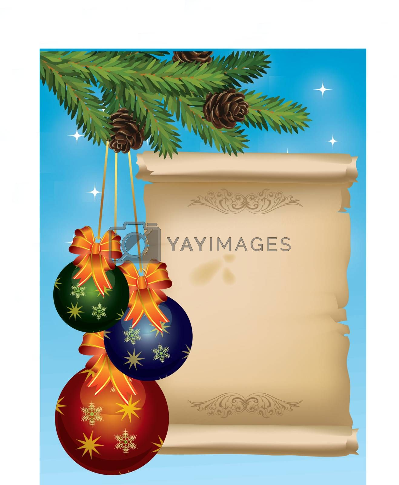 Christmas card illustration with balls and scrool