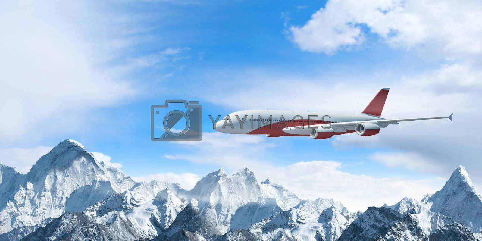 White passenger plane above the mountains by Sergey Nivens