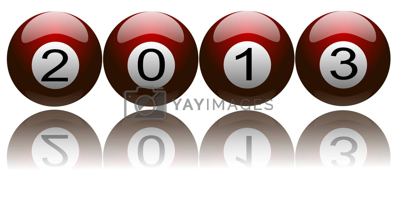 Illustration of New Year 2013 with digits on pool balls