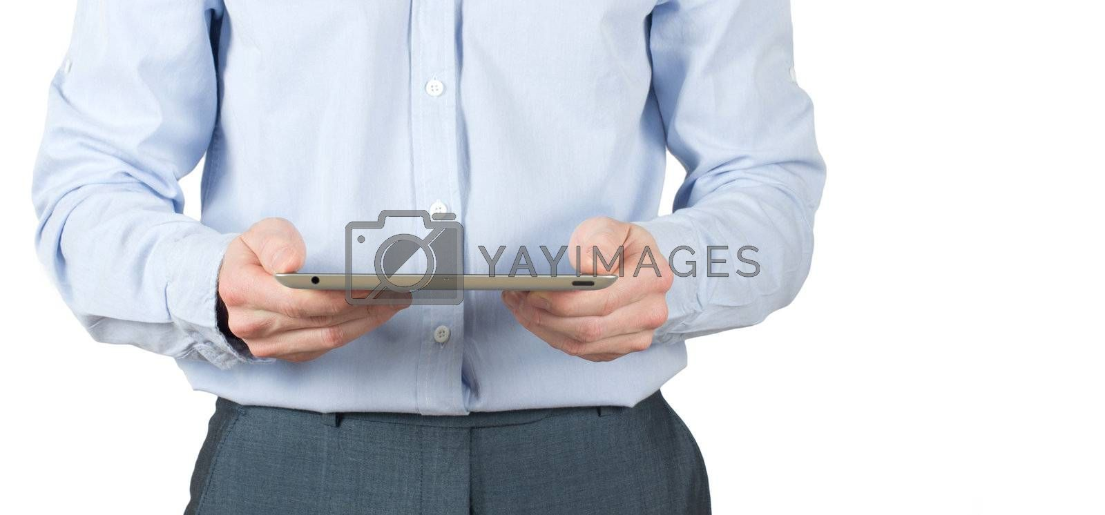 hands with tablet computer on white