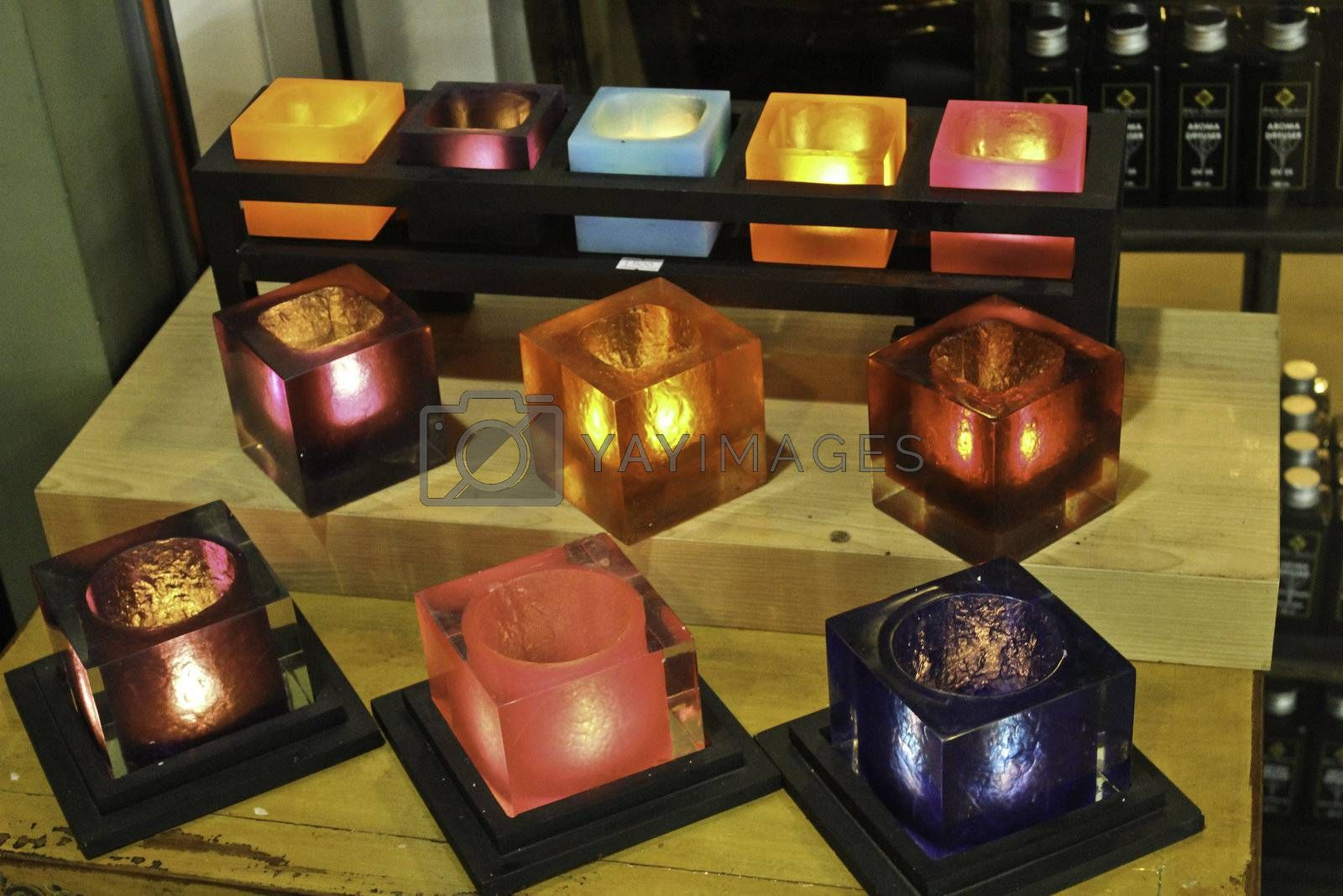 aroma candle in the colorful box glasses
