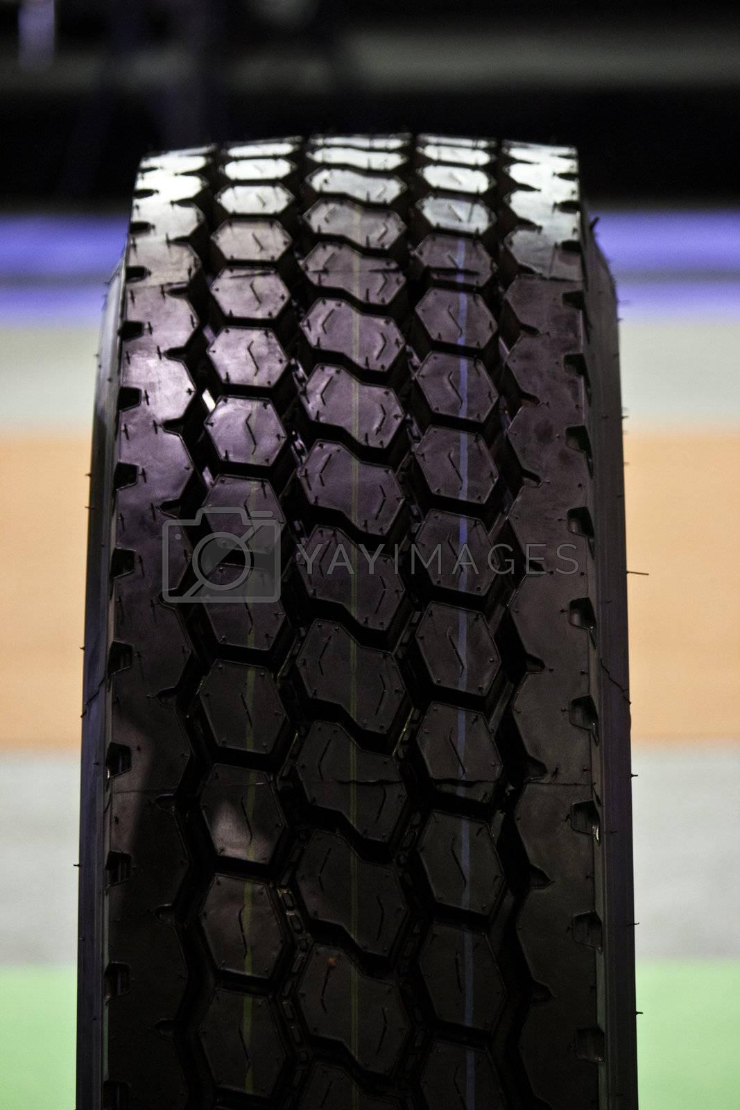 black automobile tire  close up detail