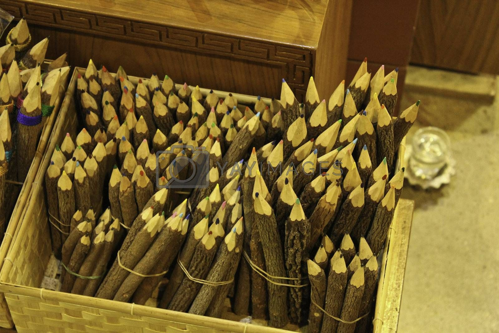 wooden color pencil colorful design