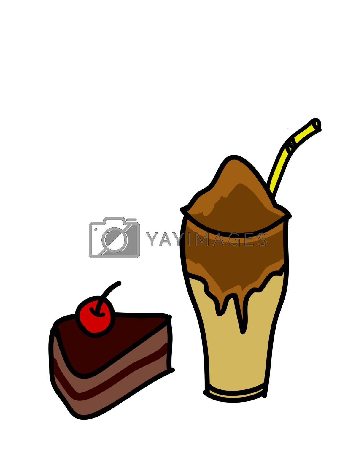 Coffee Frappe and Chocolate Cake