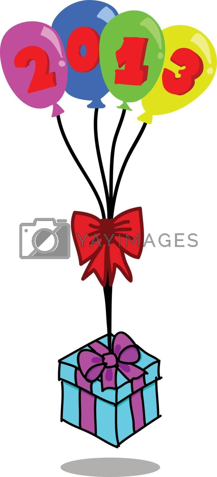 Colorful balloons & gift box on white background