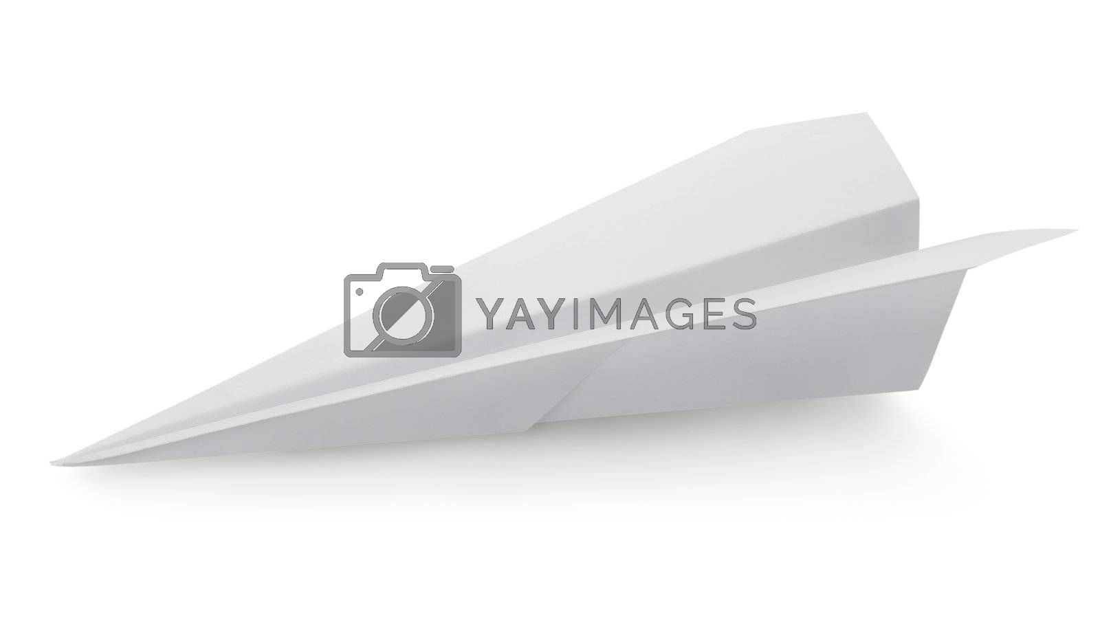 Plane made of a paper isolated on a white background. Clipping Path