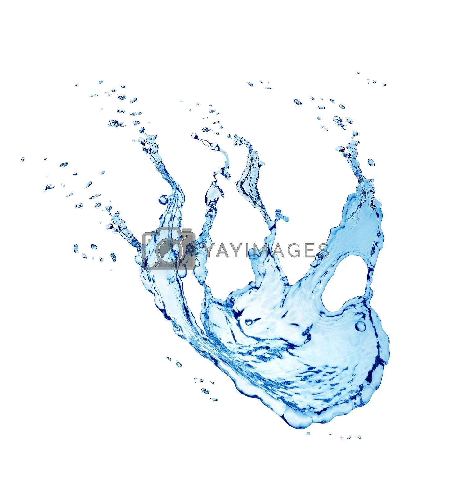 Blue water splash isolated on a white background