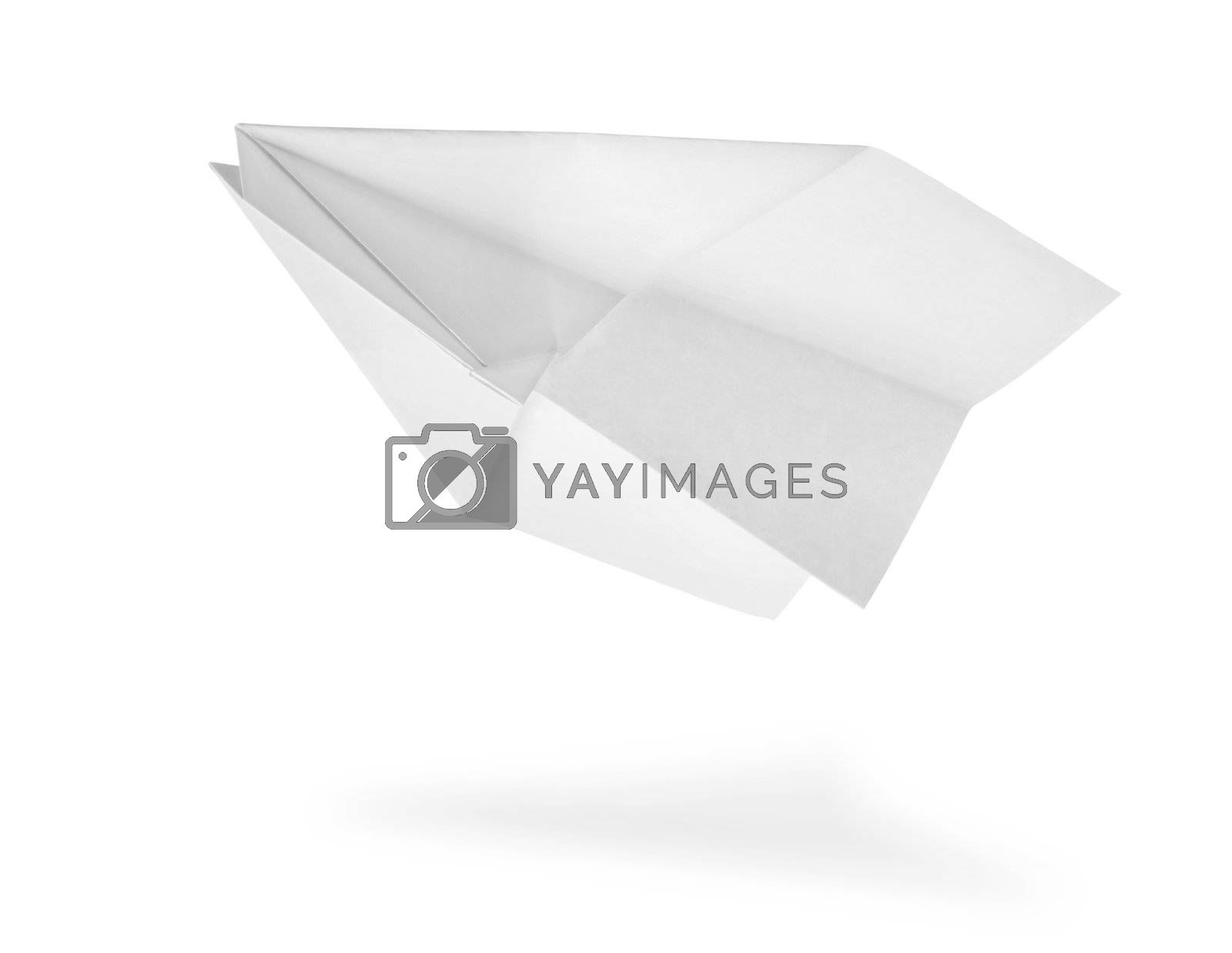 Plane made of a paper isolated on a white background