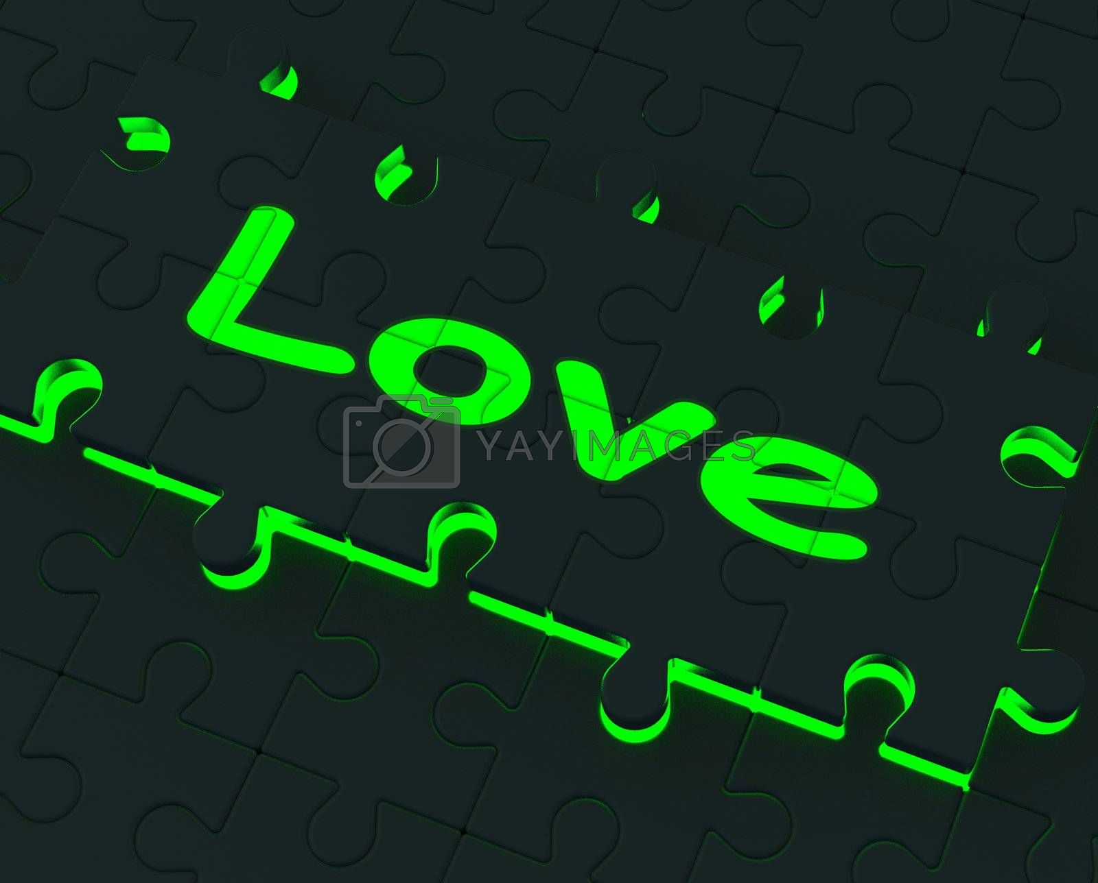 Love Glowing Puzzle Shows Romance, Valentine Or Lovers