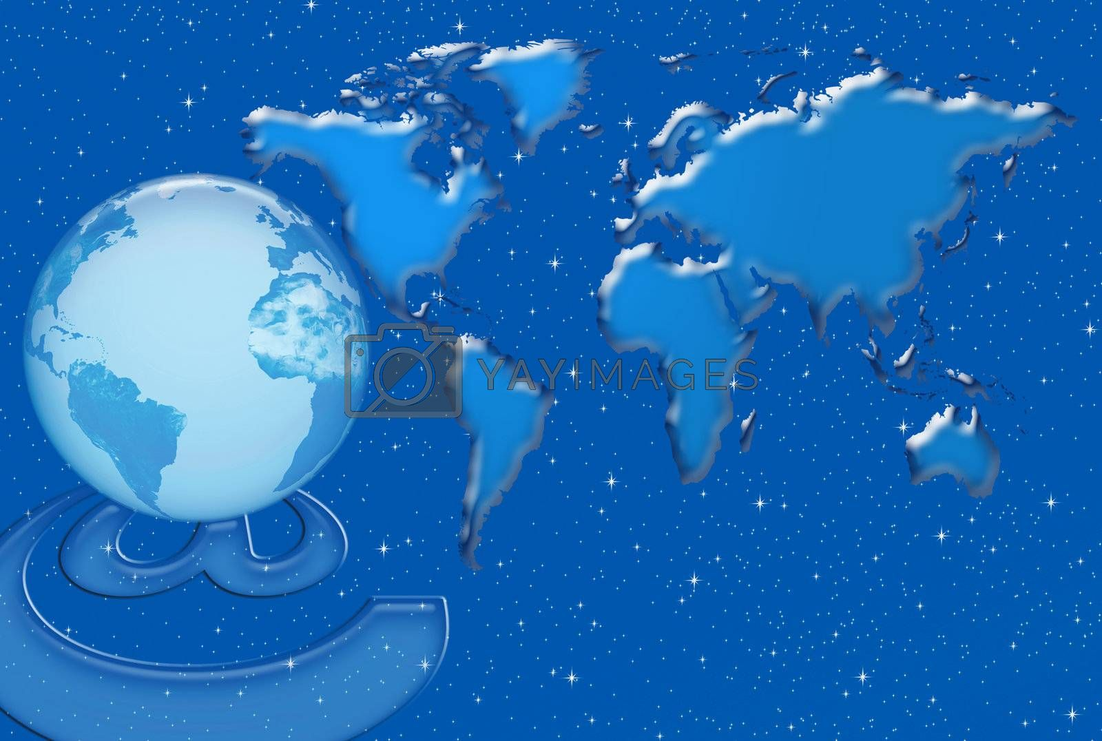 Communication and Internet networks in the world against the background of world map