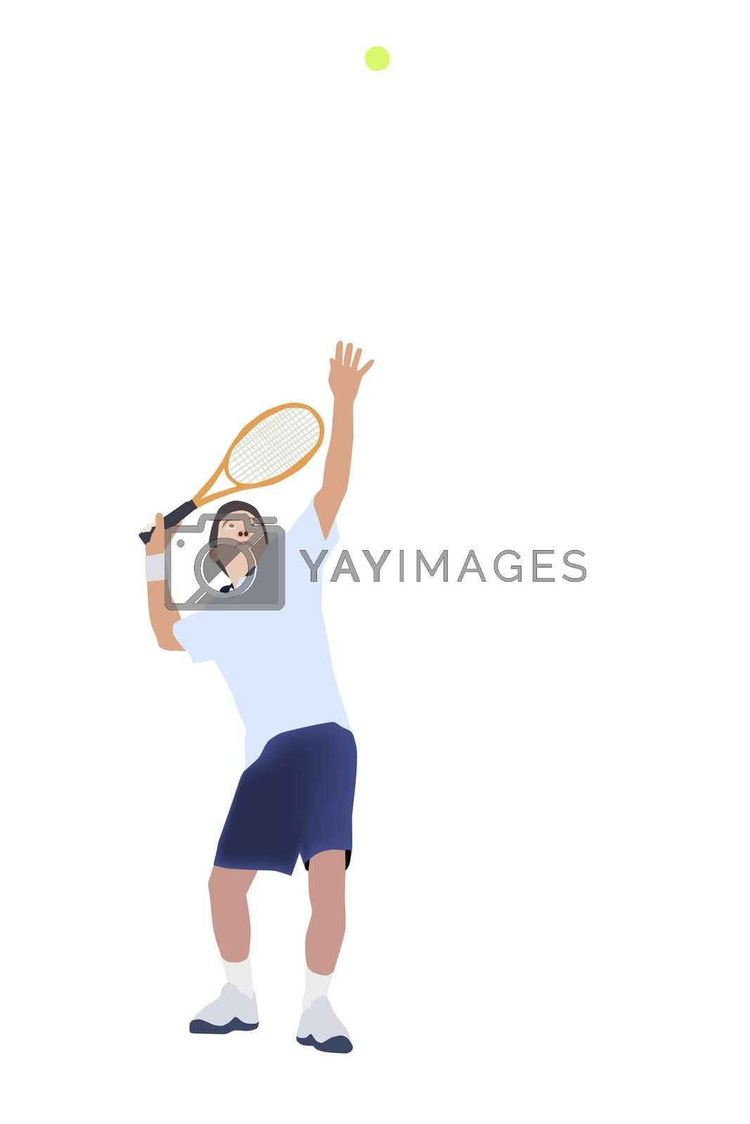 Vector and illustration of Thai men tennis player serve tennis ball