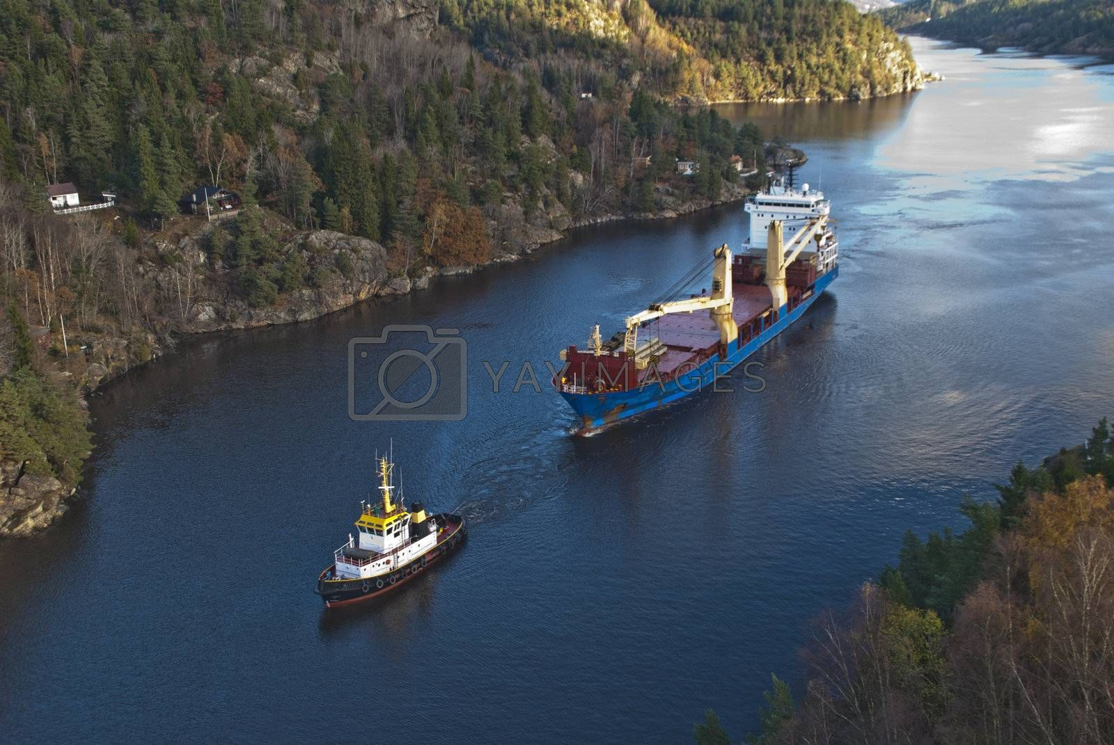 when it comes so large ships as bbc europe in ringdalsfjord they must have towing assistance to get out to the open sea and then comes little tug herbert of benefit
