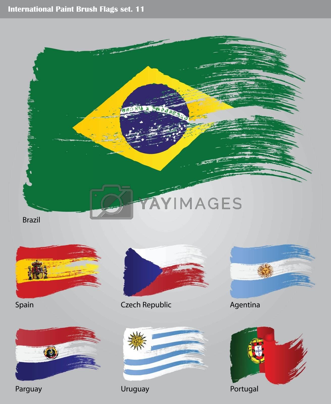 vset of vector International Paint Brush Flags
