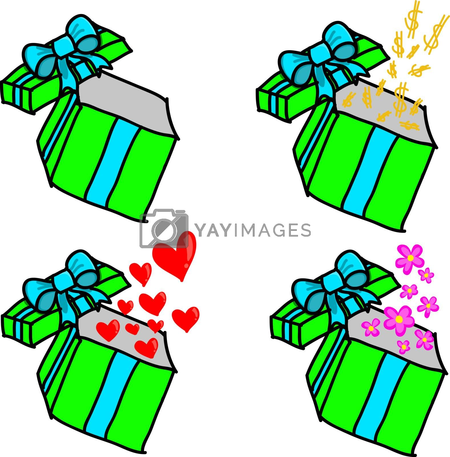 Opened colorful gift box with dollar, hearts and flowers on white background