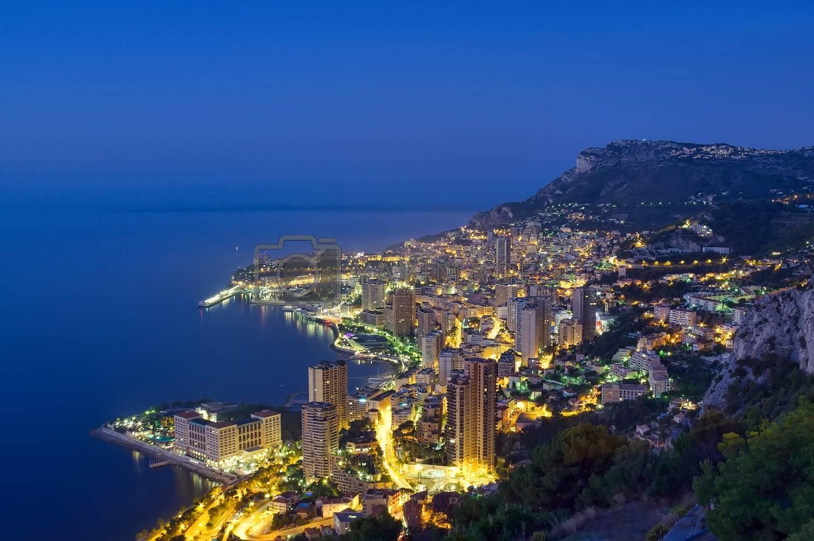 Monaco, Monte Carlo coast by night