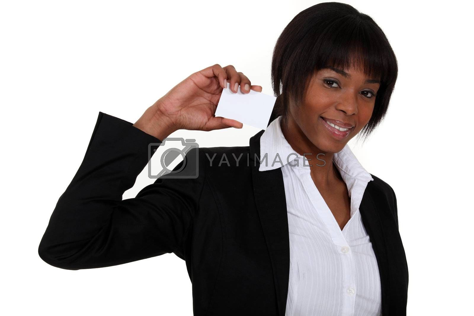 black businesswoman showing business card by phovoir