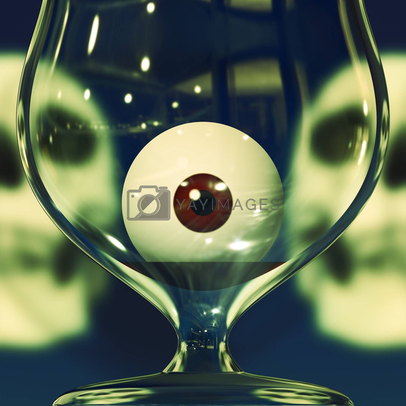 Halloween party drink with human skulls behind